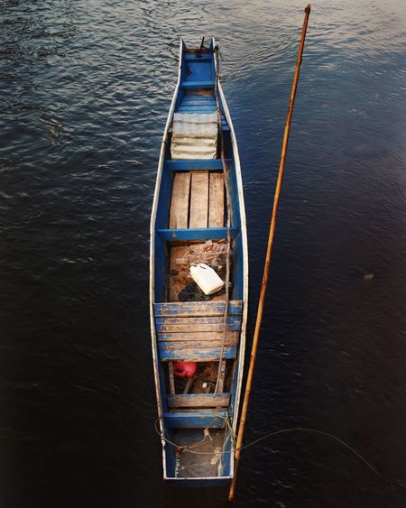 High angle view of boat on river