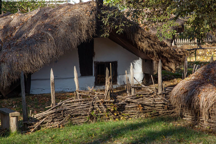 Autumn Wooden Fence Architecture Bucarest Building Exterior Built Structure Day Grass Hay House With Thatched Roof Mammal Nature No People Outdoors Skansen Skansen Bucarest Thatched Roof