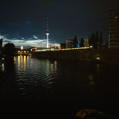 Night City Architecture Tower Illuminated Travel Destinations Reflection Skyscraper Building Exterior Cityscape Built Structure Urban Skyline Water No People Sky Outdoors Nightlife Modern Discover Berlin