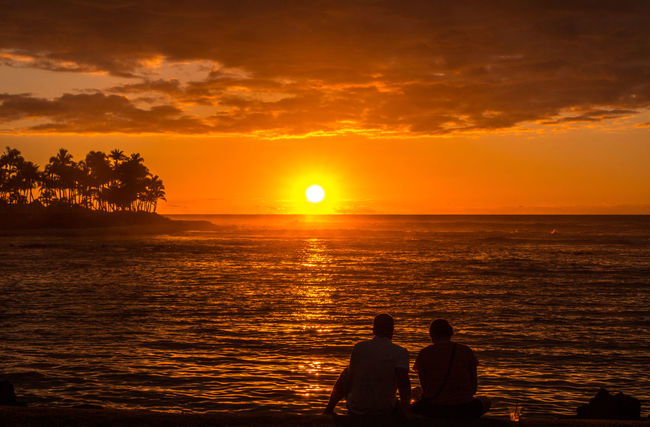 Golden sunset!🌞🌞 Sunset Sea Two People Togetherness Silhouette Horizon Over Water Nature Beauty In Nature Sun Adult Beach People Sky Landscape Palm Trees Couple Pacific Ocean Sunset Silhouettes Big Island in Hawaii United States TCPM