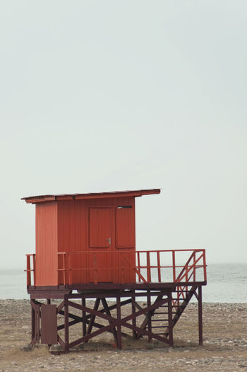 Architecture Beach Beauty In Nature Built Structure Clear Sky Copy Space Day Horizon Over Water Lifeguard Hut Nature No People Outdoors Sand Scenics Sea Sky Tranquil Scene Tranquility Vacations Water
