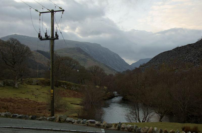 Wales Welsh Countryside Tree Mountain Water Fog Electricity Pylon Adventure Rural Scene Winter Power Line  Telephone Pole Telephone Line