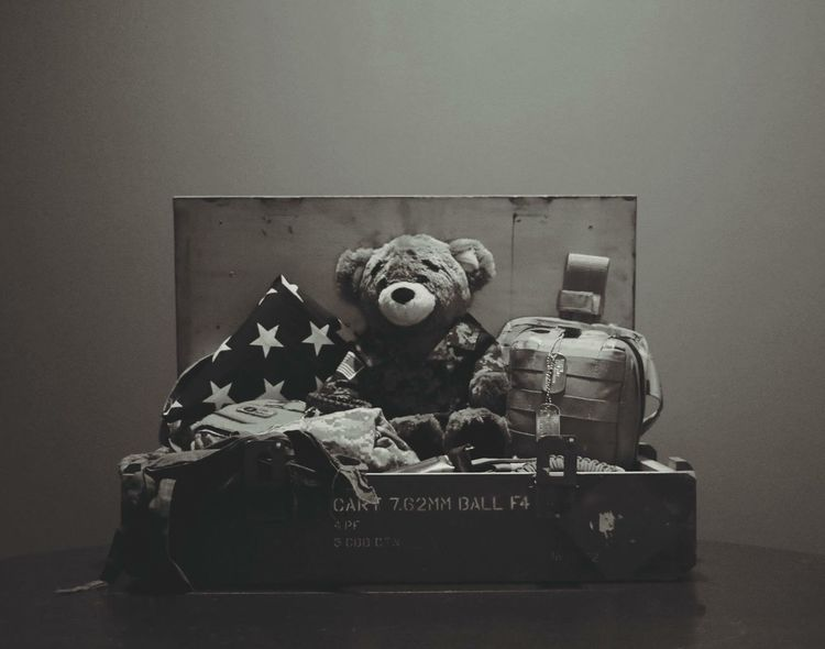 Old-fashioned No People Indoors  Military Box Monochrome Dogtags Teddy Bear Crate Camouflage