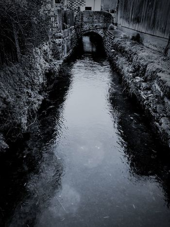 Water Day No People Built Structure Blackandwhite Black & White Mystery Romantic Small River In Town