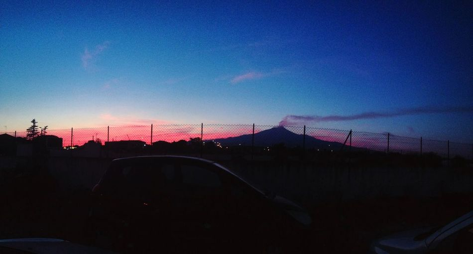 Car Transportation Sunset Land Vehicle Sky No People Mode Of Transport Nature Built Structure Outdoors Day Volcano Etna Cloud - Sky
