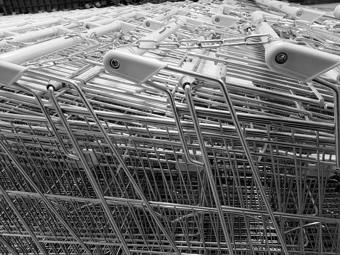 supermarket trolly, black and white. Super Market Trolley Blackandwhite Metal Full Frame Day Outdoors Close-up
