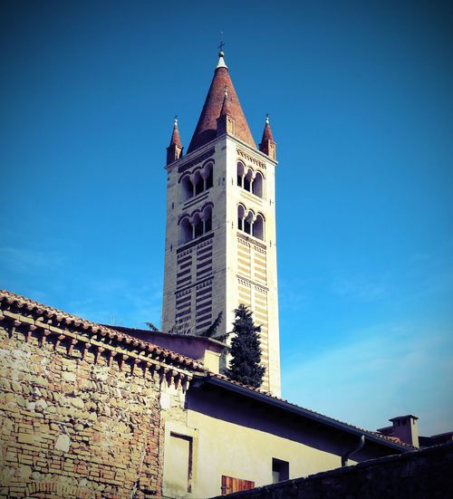 High bell tower of San Zeno Basilica in Verona in Italy with vintage effect Basilica Church City Place Of Worship S. Zeno San Zeno San Zenone Verona Verona Italy Verona, Italy Bell Tower Building Exterior Italian Italy Religion Religious  S.zeno Saint Zeno San Zeno Veneto Veronese Zeno