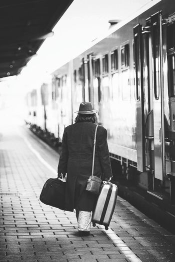 The Journey Is The Destination On The Way Transportation Train Old Lady EyeEm Gallery Eye4photography  EyeEm Best Shots EyeEm Best Shots - Black + White Blackandwhitephotography