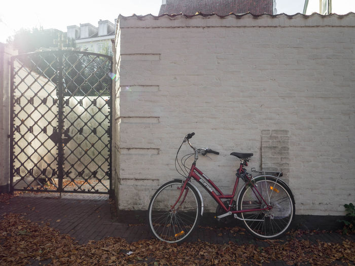 Bicycle by fence against building