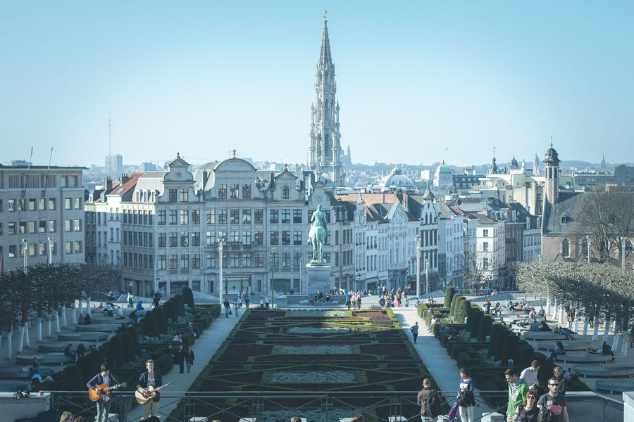 Mont Des Arts, Brussels. Antwerpen Architecture Beer Belgium Brugge Brussels Building Building Exterior Capital Cities  City City Life Cityscapes Europe Eurotrip International Landmark Landscape_Collection Montdesarts Outdoors Park People Street Musicians Streetphotography Travel Travel Destinations Traveling