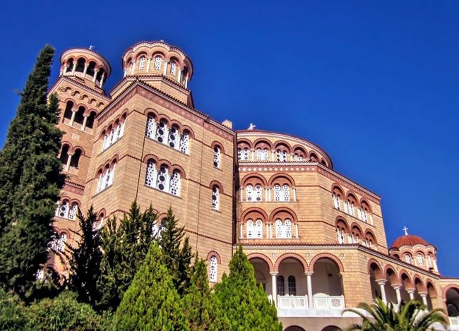 Cathedral of St. Nektarios, Aegina Island, Greece. Architecture Travel Destinations History Building Exterior Built Structure Clear Sky GREECE ♥♥ Greek Islands Aegina Island In The Sun