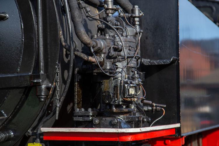Close-up of machine part of train