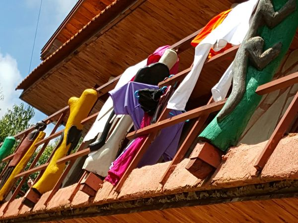 Multi Colored Low Angle View Hanging Architecture Building Exterior Colourful Colourful Clothes Hanging Clothes Clothes In The Wind