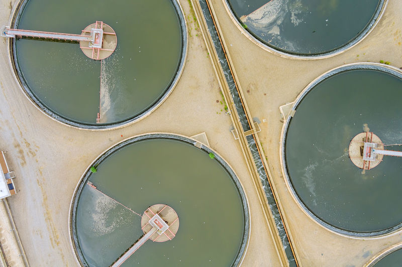 High angle view of floating on pond in city