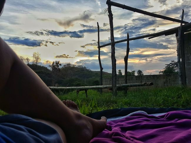 Outdoor Cloud - Sky Sky Low Section Human Leg Human Body Part One Person Sunset People Tree Only Women One Woman Only Adult Day Nature Outdoors Adults Only Human Hand Close-up EyeEmNewHere Adventure Tent Camp Camping Philippines Beauty In Nature Been There.
