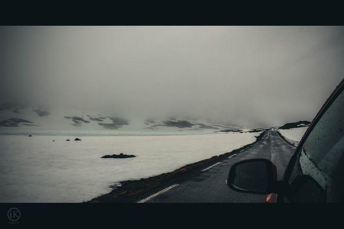 Norway Car Car Trip Car Travel Road Cloudy Cold Snow Winter