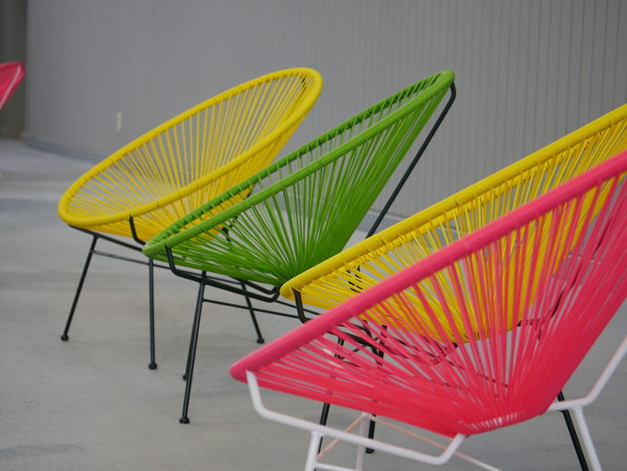 Colorful chairs arranged