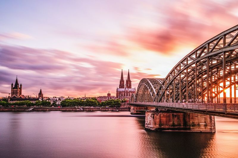 Architecture Travel Destinations Built Structure Sunset Sky Cloud - Sky No People Urban Skyline City Outdoors Cityscape Water Nature Day EyeEmNewHere EyeEm Selects Cologne Cologne Cathedral Cologne , Köln,  Köln, Germany