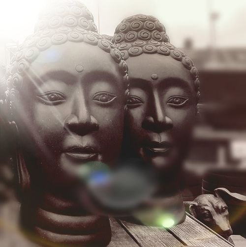 Two Buddhas and a dog ⛩Statues/sculptures Buddha Heads Dog❤ Close-up Day Garden Sculptures For Sale Garden Centre Buddhism England 🌹 Samsung Galaxy S7 Black And White Photography
