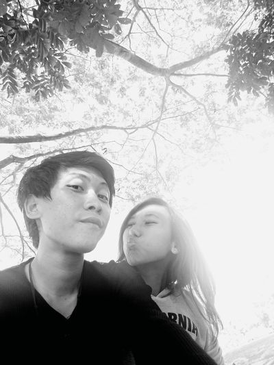 With my gf under a tree! Couple Love Lovely Kiss Tree Blackandwhite How
