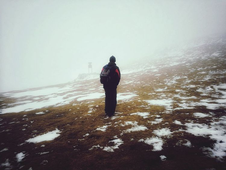 ~Dad~ Monte Gorbea Gorbea Landscape Vizcaya Mountain Full Length Winter Cold Temperature Rear View One Person One Man Only Snow