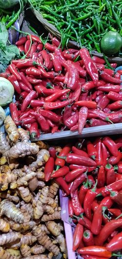 Red Vegetable Market High Angle View Food And Drink