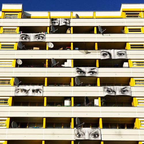 Paint The Town Yellow Yellow No People Day Outdoors Berlin Kreuzberg Art Eyes Street Art Balcony The Look