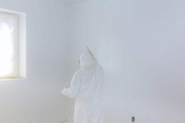 Rear View Of Mature Man Working On White Wall At Home