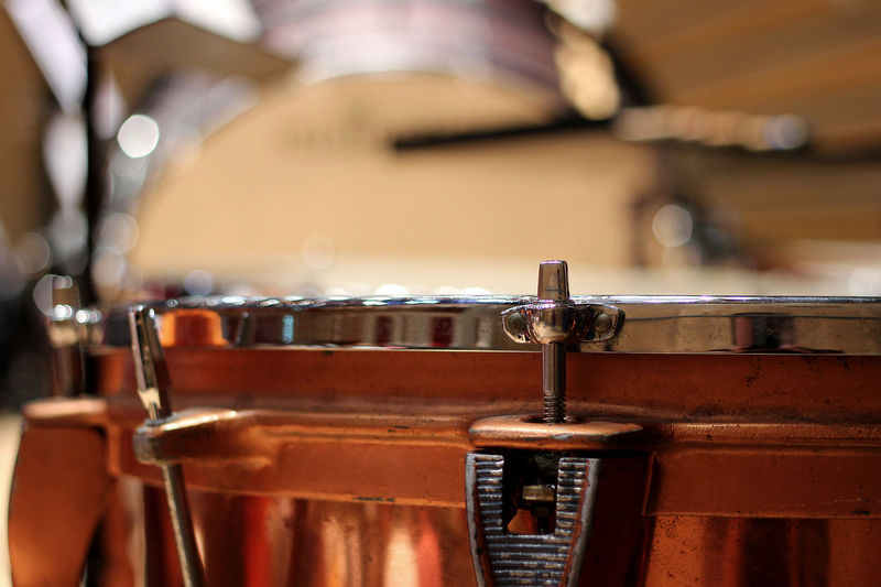 Close-up of timpani Classical Music Music On Stage Stage Arts Culture And Entertainment Close-up Concert Concert Hall  Concert Photography Day Drum - Percussion Instrument Drumstick Focus On Foreground Indoors  Instrument Metal Music Musical Equipment Musical Instrument Musician Percussion Instrument Performance Selective Focus Timpani Wood - Material