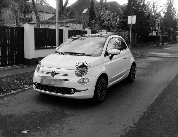Early morning. Made my day 😂 Car Transportation Land Vehicle Day Street Fiat 500 Happy Time Happy Black & White Eyelashes Makeup Huawei Huaweiphotography
