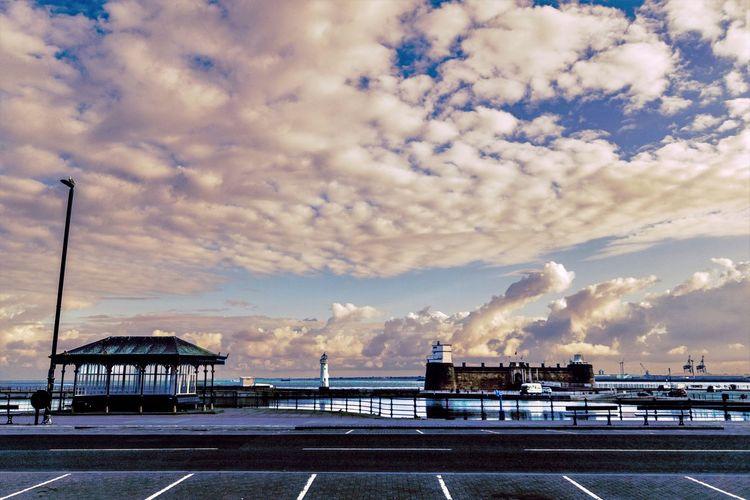 Harbor Against Cloudy Sky