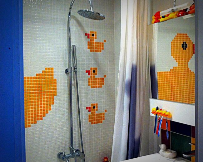 Lifestyle Shower Duckies Multicolored Mosaic Tiles Mosaic Tiles Interior Design Mirror Reflection Parted Image Yellowandblue Showcase July