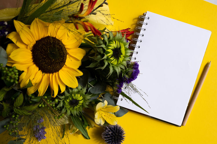 High angle view of sunflower on table