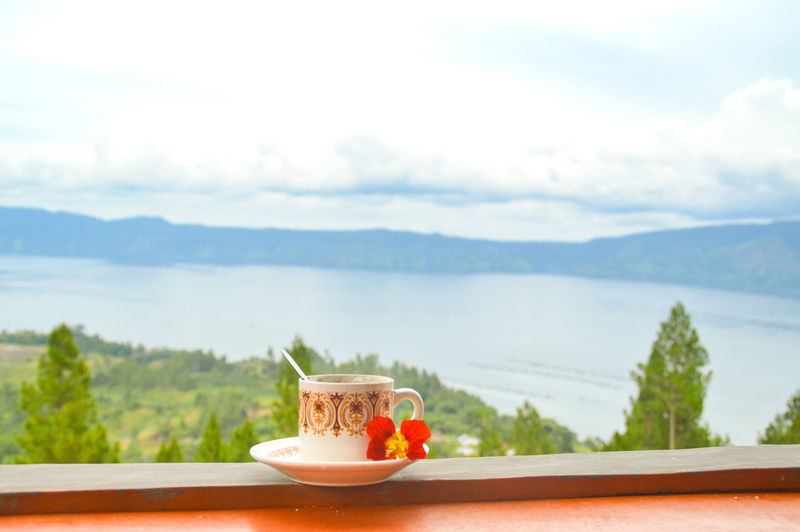 Having Indonesian coffee while watching the view of Lake Toba Indonesian Coffee Summer Getaway Relaxing Moments Copy Space April Dreamy Freshness Green Springtime Spring To Summer Green Color Leisure Lifestyle Vacation Time Travel Travel Destinations Travel Photography Water Drink Fruit Mountain Relaxation Flower Famous Place Tourism Tourist Attraction  Summer Exploratorium