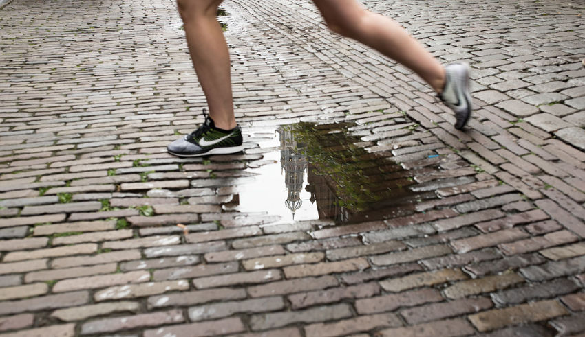 Bavokerk Grote Markt Jumping Legs Muscles Nike✔ Puddle Puddleography Rain Rainy Days Snikers Sport Squares Street Tension Tiles Water Out Of The Box