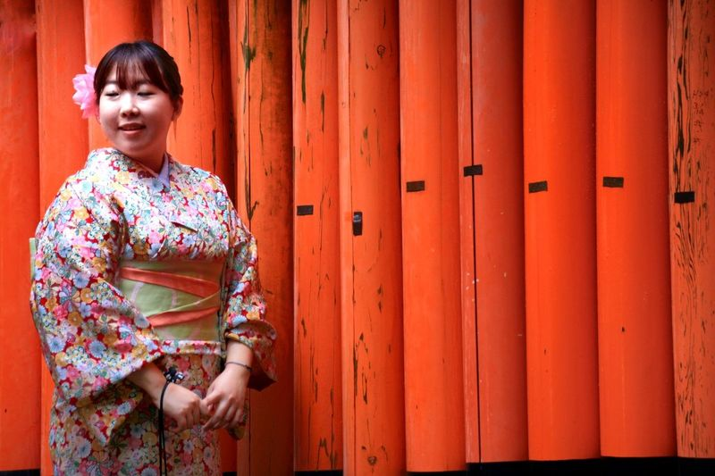 Thousand Tori Geisha Japan Kyoto Temple Tori Only Women One Woman Only Door Adult Adults Only People Women