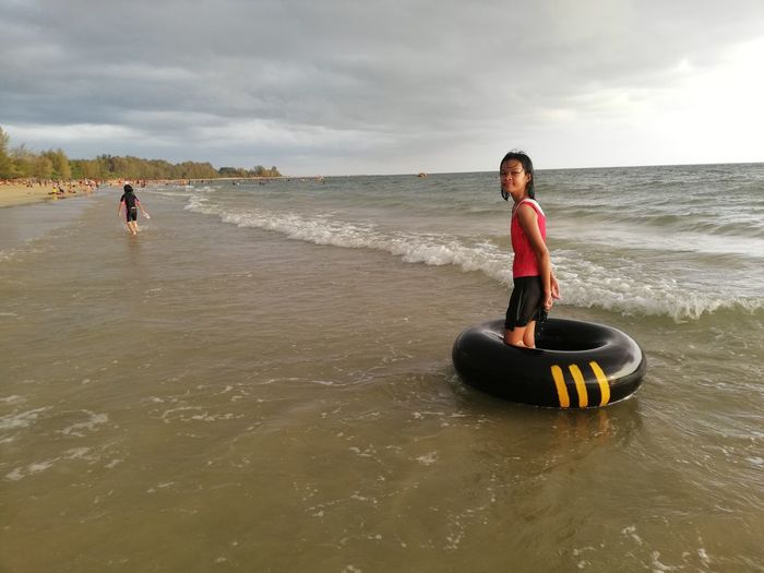Children enjoy on summer trip 2019,หาดเจ้าหลาว Achi2019 Water Sky Sea Beach Cloud - Sky Real People Lifestyles Childhood Leisure Activity Nature Beauty In Nature Land Males  Day People Child Scenics - Nature Boys Women Outdoors Horizon Over Water