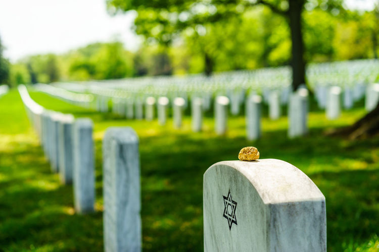 View of gravestones at cemetery