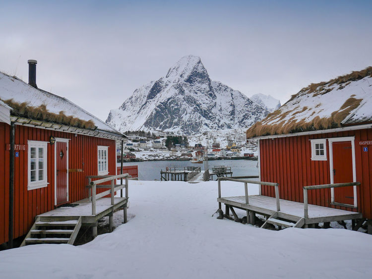 Arctic Best View Cloud Cloudy Cold Temperature Fisherman Fisherman Cabins Landscape Lofoten Lofoten Islands Mountain Mountains Norway Red Cabins Reine Scandinavia Snow The Great Outdoors - 2016 EyeEm Awards Tranquil Scene Tranquility White Winter Winter Landscape Winter Wonderland Wintertime