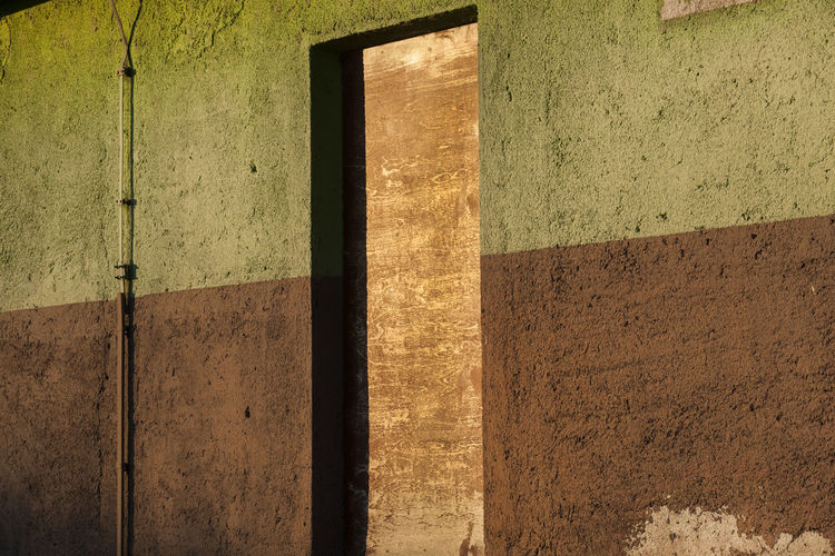 Shadow on wall of old building