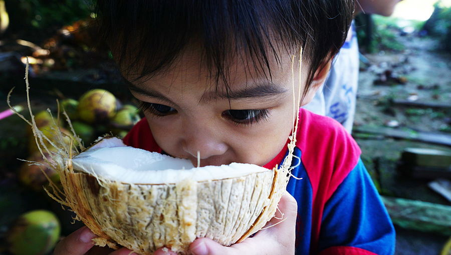 Close-up of boy eating coconut