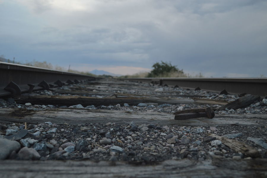 Low Angle View Railroad Nail Cloud - Sky Day Landscape Nature No People Outdoors Sky