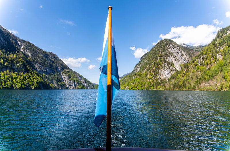 ship trip on Königssee Stay Out Water Tree Mountain Lake Blue Nautical Vessel Sky Cloud - Sky Mountain Range Panoramic Rocky Mountains Tranquil Scene Scenics Tranquility Rock Formation Countryside Snowcapped Calm Snowcapped Mountain