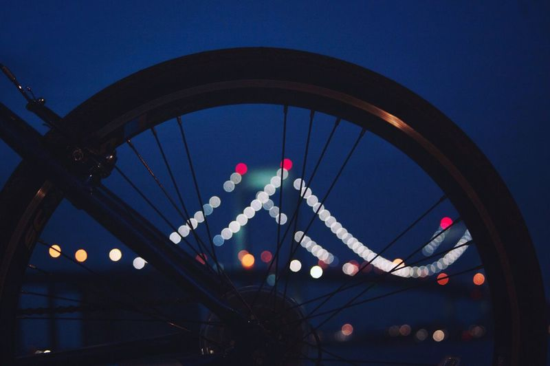 Lights Ride Bike Lights Architecture Blue No People Built Structure Low Angle View Sky Dusk Illuminated Transportation Emotion