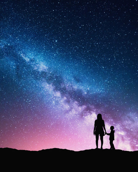 Adult Adults Only Astronomy Beauty In Nature Bonding Galaxy Leisure Activity Men Milky Way Nature Night Only Men Outdoors People Silhouette Sky Space Star - Space Togetherness Two People Watching