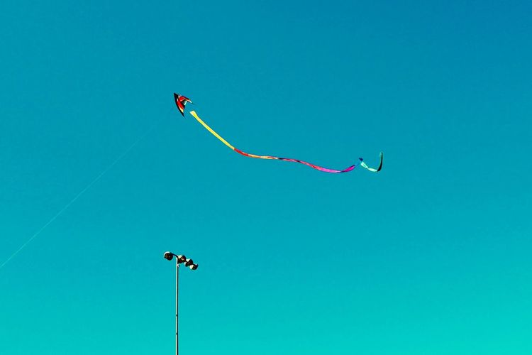 Kite Low Angle View Nature Day No People Outdoors Flying Kite - Toy Kite Mid-air