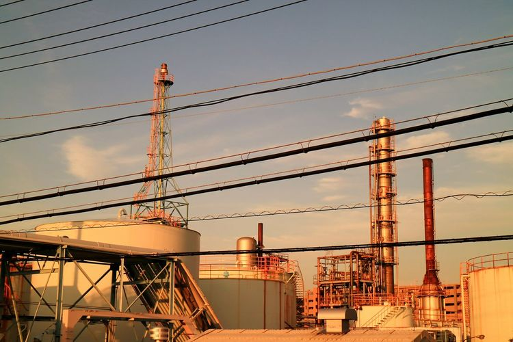 Factory Plant Chemical Plant Sunset Sunsets Wire Chimney Sky Cloud Japan Tower