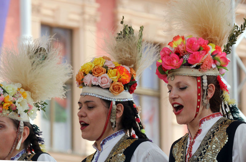 Traditional dancers singing during traditional festival