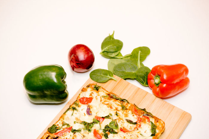 Chopping Board Close-up Composition Food Food And Drink Freshness Frittata Healthy Eating Healthy Lifestyle Kitchen Organic Pepper Preparation  Preparing Food Red Onion Spinach Still Life Vegetable