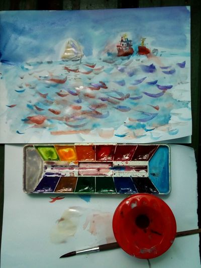 Child's sketch Sea Sketch Colors Child's Art Study Education Skills  Painting Water Colors Brush Art Art School To Study Plein Air Watercolors  Watercolor Painting Aquarelle